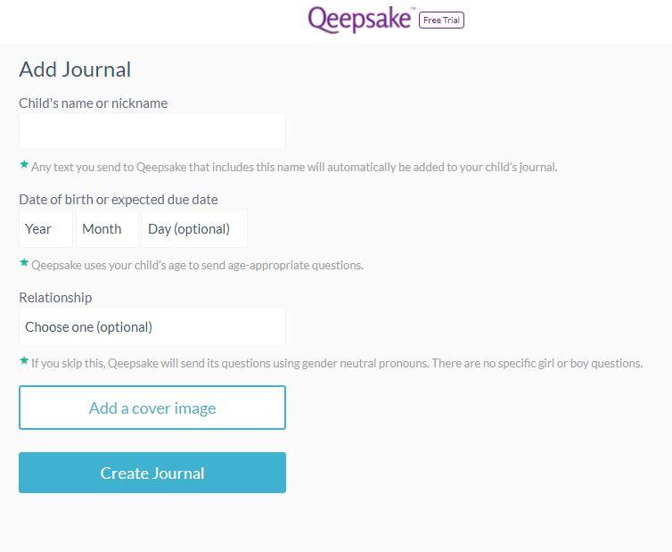 Qeepsake Sign-up process