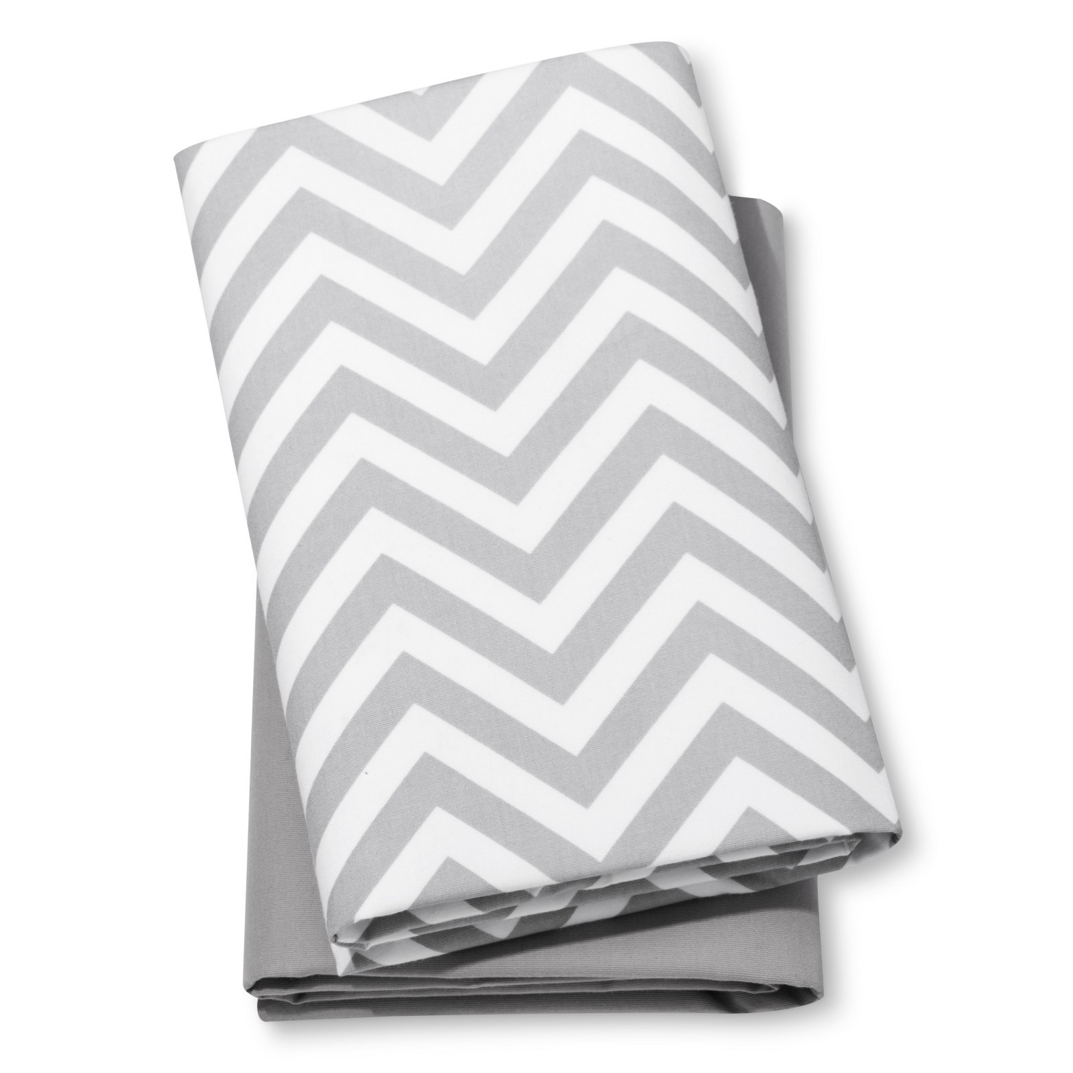 Fitted Playard Sheets Chevron & Solid 2pk - Cloud Island™ - Gray/White