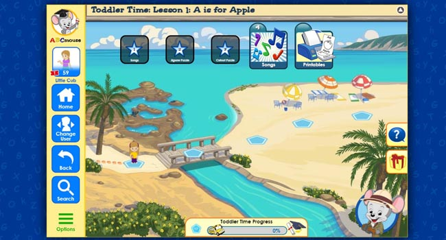 Child's Learning Path in ABC Mouse Game