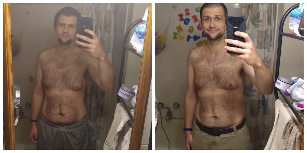 Justin Noom Progress Comparison Week 6