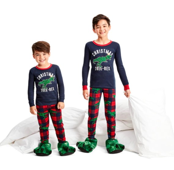 Brother Matching Dinosaur Christmas Pajamas