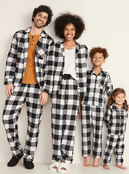 Patterned matching family pajamas