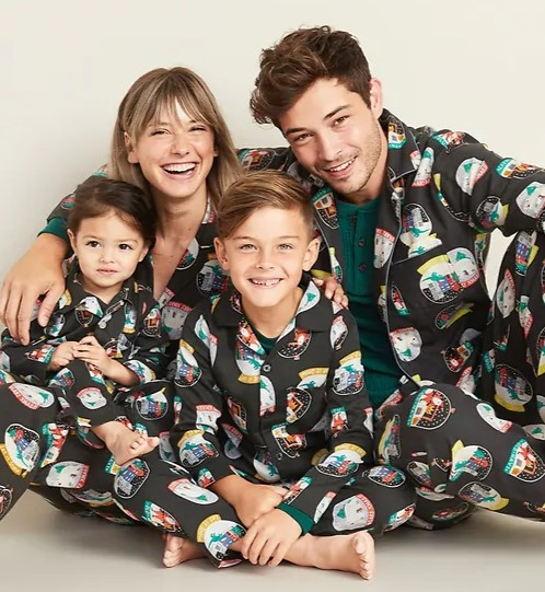 Polar bear snow globe matching pajamas
