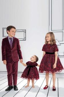 Red Matching Kids Christmas Formal Wear