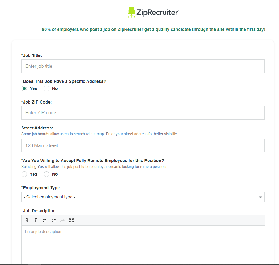 Job Posting Form From ZipRecruiter