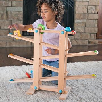 Montessori Toy- Roll 'n Go Wooden Marble Run