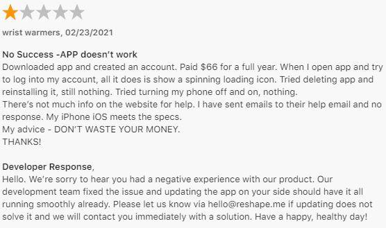 Reshape Review App Store