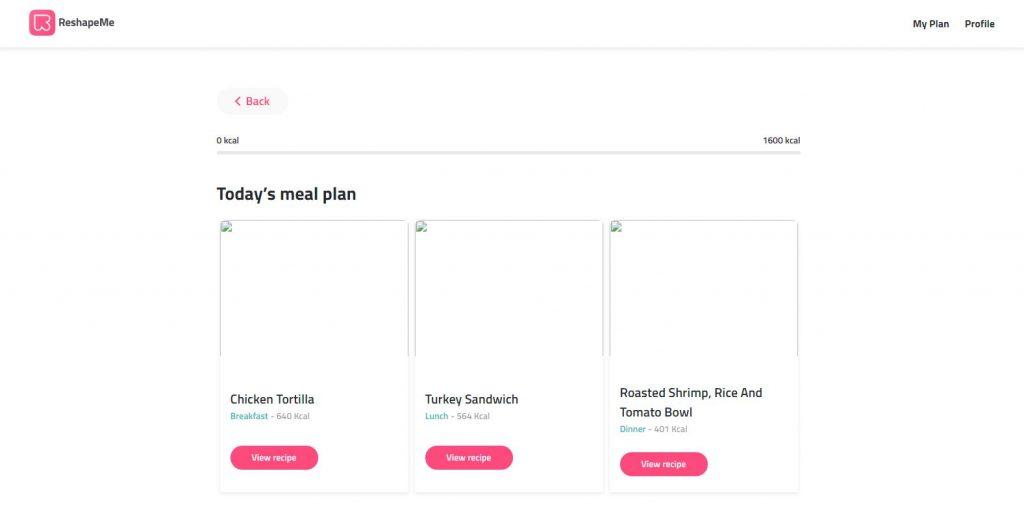 Reshape Website Screenshot Meals